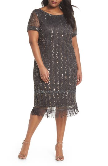 1920s Style Dresses, Flapper Dresses Plus Size Womens Pisarro Nights Embellished Fringe Hem Shift Dress Size 18W - Grey $188.00 AT vintagedancer.com