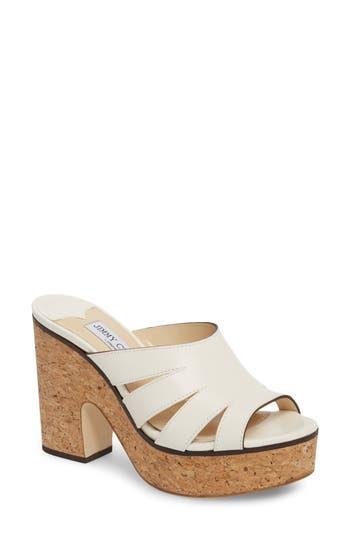 Women's Jimmy Choo Dray Platform Slide Sandal, Size 7US / 37EU - White