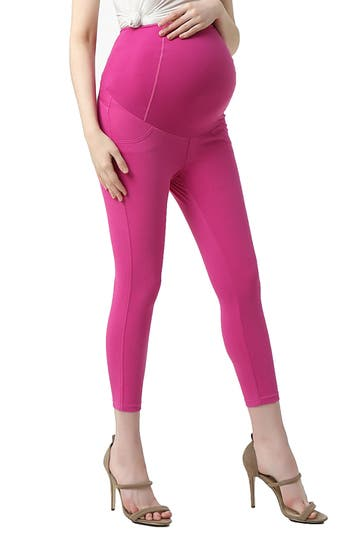 Kimi And Kai Tia Cropped Denim Maternity Leggings, Pink