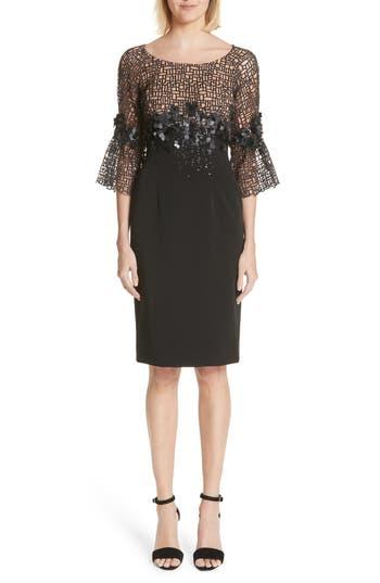 Carmen Marc Valvo Couture Geometric Lace Cocktail Dress, Black