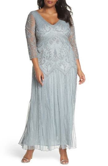 1920s Style Dresses, Flapper Dresses Plus Size Womens Pisarro Nights Embellished Double V-Neck Long Dress $228.00 AT vintagedancer.com