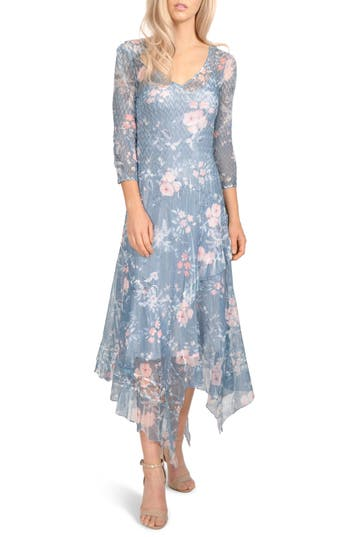 1920s Style Dresses, Flapper Dresses Petite Womens Komarov Charmeuse  Chiffon Midi Dress Size X-Large P - Blue $368.00 AT vintagedancer.com