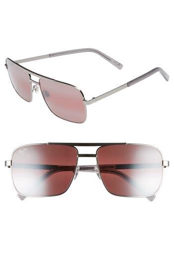 Maui Jim Compass 60Mm Polarized Aviator Sunglasses - Silver/ Neutral Grey