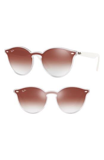 Ray-Ban Blaze 137Mm Wayfarer Mirrored Shield Sunglasses - Red Gradient Mirror