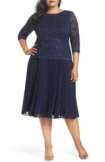 Great Gatsby Dress – Great Gatsby Dresses for Sale Plus Size Womens Alex Evenings Mock Two-Piece Tea Length Dress $239.00 AT vintagedancer.com