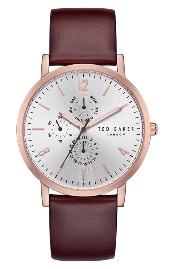 Ted Baker London Graham Multifunction Leather Strap Watch, 40Mm