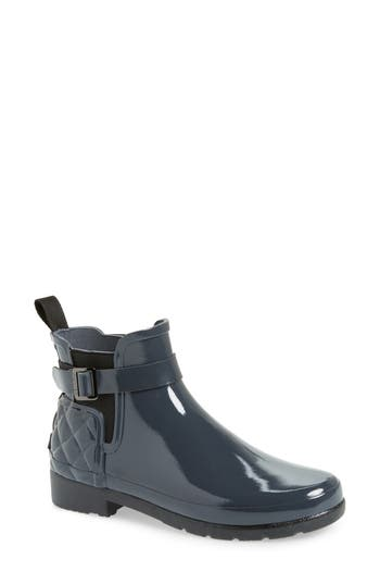 Hunter Original Refined Quilted Gloss Chelsea Boot, Grey