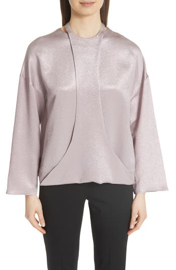 VALENTINO HARNESS DETAIL HAMMERED LAME TOP