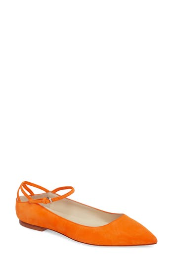 Brian Atwood Astrid Ankle Strap Flat, Orange