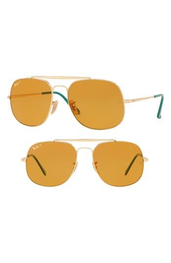 Ray-Ban 57Mm Polarized Aviator Sunglasses - Gold