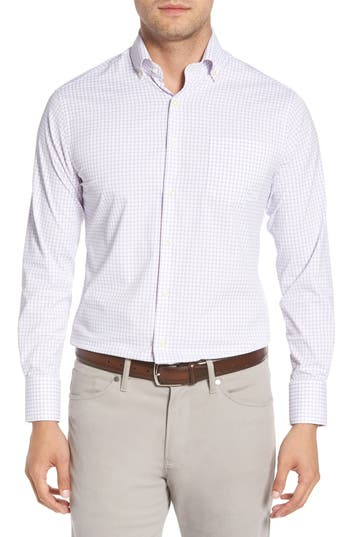 Peter Millar Captain Performance Tattersall Sport Shirt, Purple