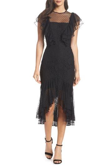 Cooper St Rosie Ruffle Lace Midi Dress, Black