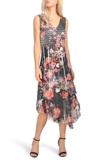 Komarov Asymmetrical Hem Midi Dress, Black