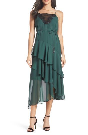 Cooper St Lucille Lace Trim Chiffon Midi Dress, Green