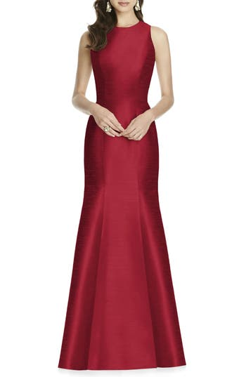1950s Style Cocktail Dresses & Gowns Womens Alfred Sung Dupioni Trumpet Gown Size 18 - Red $231.00 AT vintagedancer.com
