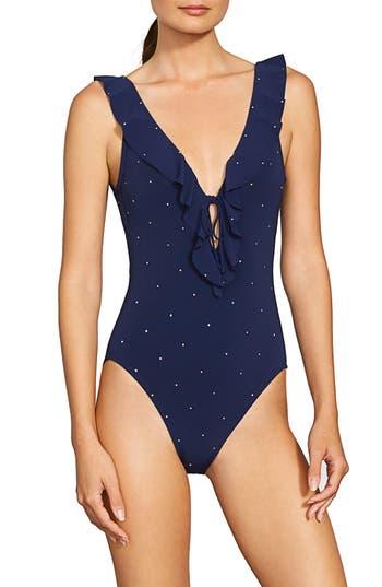 Robin Piccone Jennie Plunge One-Piece Swimsuit, Blue