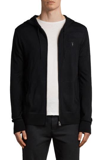 Allsaints Mode Slim Fit Merino Wool Zip Hoodie, Black