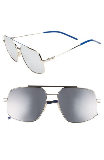 Fendi 5m Polarized Metal Navigator Sunglasses - Palladium