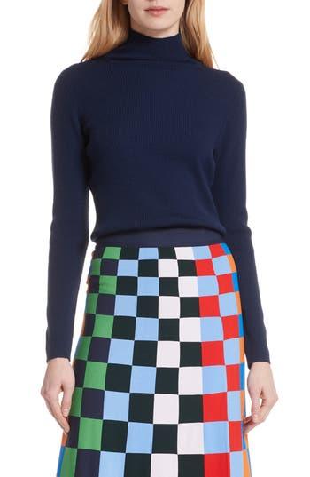 Tory Sport Ribbed Merino Wool Blend Turtleneck Sweater, Blue