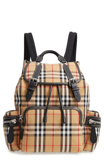 Burberry Medium Rucksack Check Cotton Backpack - Yellow