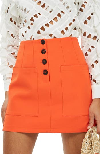Topshop Pocket Button Miniskirt, US (fits like 14) - Orange