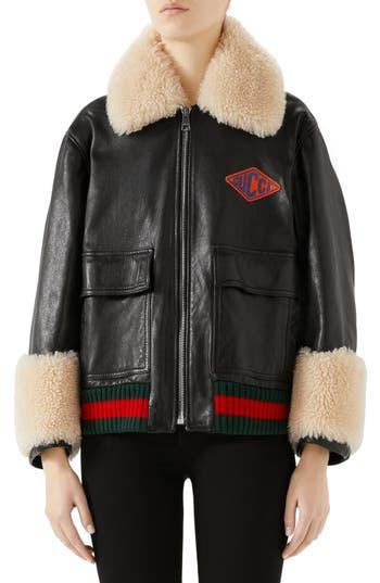 Gucci Genuine Shearling Trim Leather Bomber Jacket, US / 46 IT - Black