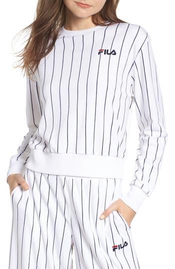 Fila Parker Stripe Velour Sweatshirt, White
