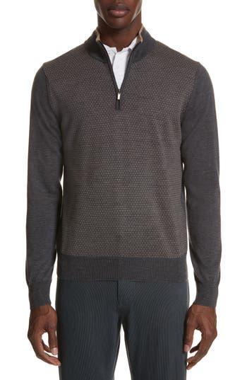 Canali Quarter Zip Wool Sweater, 0 US / 5 R - Grey