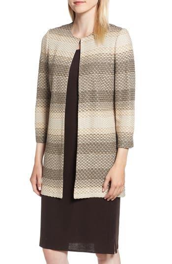 Ming Wang Long Jacquard Knit Jacket, Green