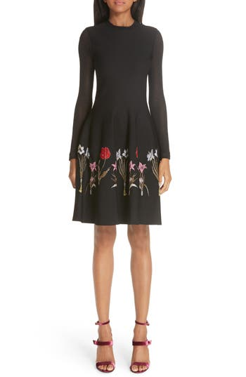 Oscar De La Renta Sheer Sleeve Floral Hem Dress, Black