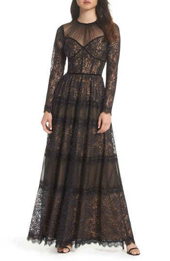 Edwardian Evening Gowns | Victorian Evening Dresses Womens Tadashi Shoji Lace Gown $688.00 AT vintagedancer.com