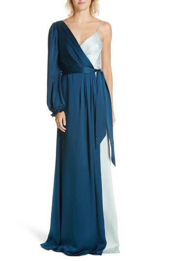 1960s – 70s Cocktail, Party, Prom, Evening Dresses Womens Amur Alex Bicolor Silk Gown Size 12 - Blue $698.00 AT vintagedancer.com