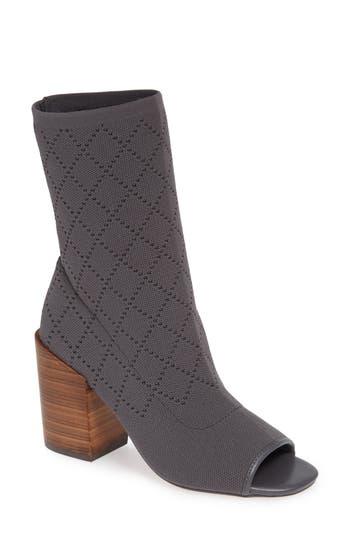 Kelsi Dagger Brooklyn Macey Knit Peep Toe Bootie- Grey