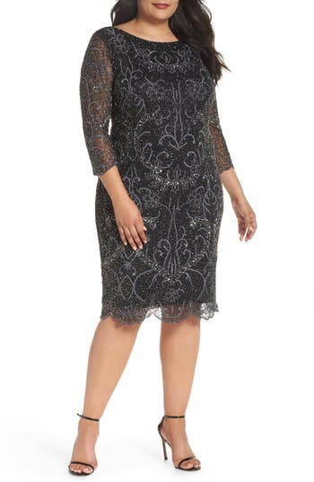 Plus Size Pisarro Nights Embellished Sheath Dress