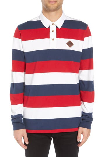 Vans Rugvee Long Sleeve Striped Polo, Red