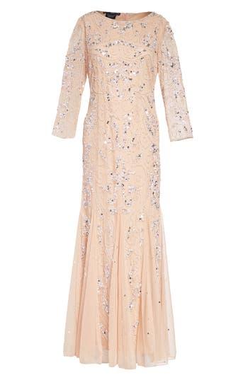 1930s Dresses | 30s Art Deco Dress Pisarro Nights Embellished Mesh Gown Size 8P - Pink $218.00 AT vintagedancer.com