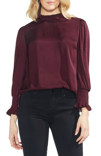 Victorian Blouses, Tops, Shirts, Vests Womens Vince Camuto Ruffle Neck Satin Blouse Size X-Large - Red $89.00 AT vintagedancer.com