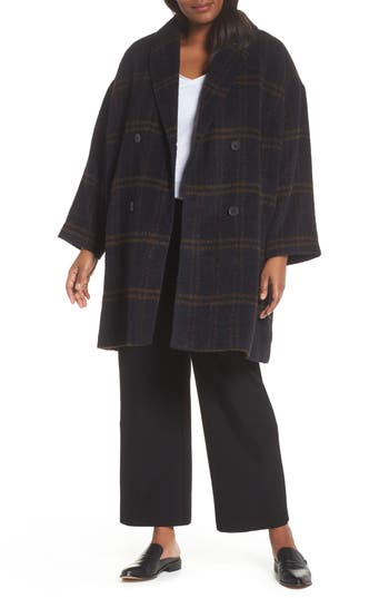 Plus Size Eileen Fisher Double Breasted Plaid Alpaca Blend Coat, Size One Size - Blue