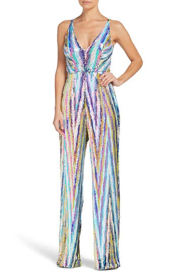 1960s – 70s Cocktail, Party, Prom, Evening Dresses Womens Dress The Population Charlie Sequin Jumpsuit Size XX-Large - White $318.00 AT vintagedancer.com