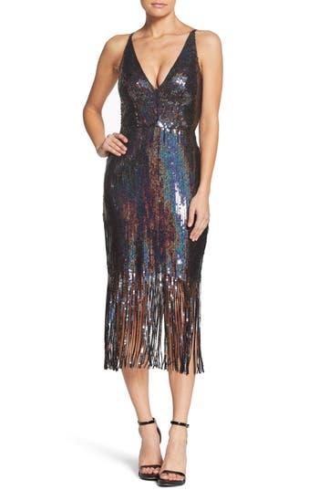 1960s – 70s Cocktail, Party, Prom, Evening Dresses Womens Dress The Population Frankie Plunge Midi Dress Size XX-Large - Black $278.00 AT vintagedancer.com