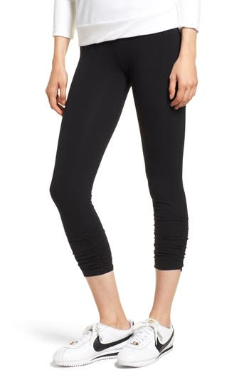 Lysse Ruched Crop Leggings, Black