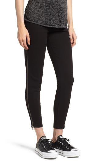 Lysse Zip Denim Leggings, Black