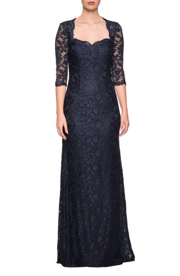 1940s Evening, Prom, Party, Formal, Ball Gowns Womens La Femme Lace Column Gown Size 14 - Blue $398.00 AT vintagedancer.com