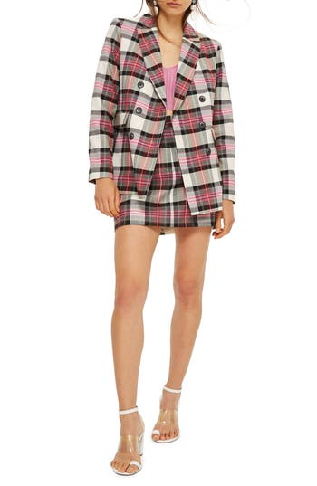 Topshop Tartan Pelmet Skirt, US (fits like 0) - Pink