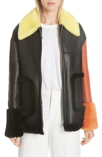 Anne Vest Pea Genuine Shearling Jacket, 4 DE - Black
