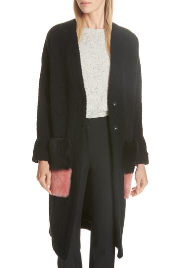 Anne Vest Brisbane Wool Blend Coat With Genuine Shearling Pockets, 4 DE - Black