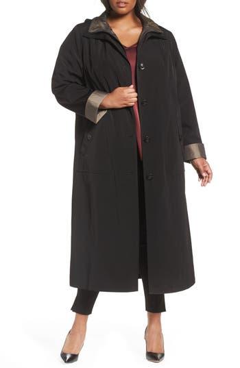 Plus Size Gallery Long Raincoat With Detachable Hood & Liner, Black