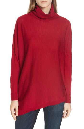 Eileen Fisher Merino Jersey Asymmetrical Turtleneck Sweater, Red