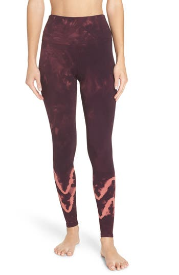 Electric & Rose Sunset Tie Dye Leggings, Burgundy