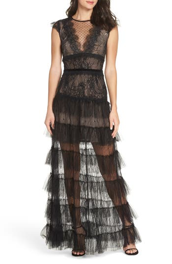 Bronx And Banco Lolita Lace A-Line Gown, Black